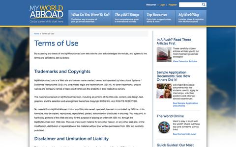 Screenshot of Terms Page myworldabroad.com - Terms of Use | MyWorldAbroad - captured Sept. 23, 2014
