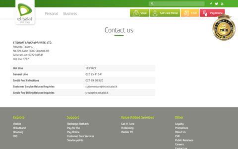 Screenshot of Contact Page etisalat.lk - Contact us – Etisalat Sri Lanka - captured Sept. 29, 2018