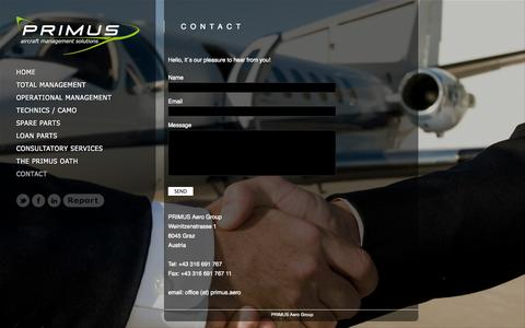 Screenshot of Contact Page primus.aero - CONTACT «  Primus Aircraft Management Solutions GmbH - captured Oct. 1, 2014