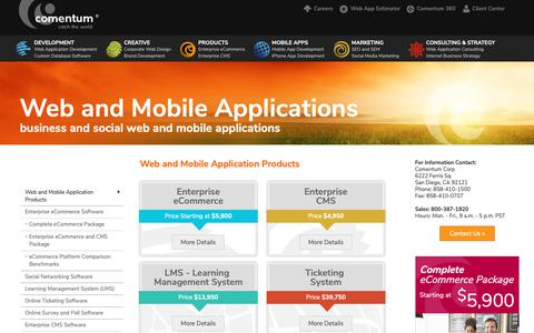 Screenshot of Products Page comentum.com - Web and Mobile Applications Products for Internet Entrepreneurs - captured Sept. 29, 2018