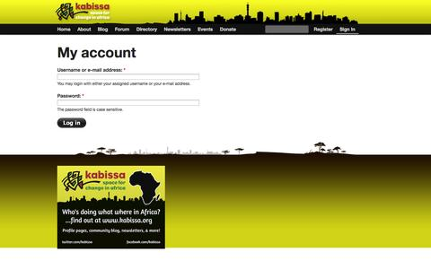 Screenshot of Login Page kabissa.org - My account   Kabissa - captured Sept. 24, 2014