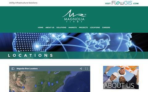 Screenshot of Locations Page magnolia-river.com - Magnolia River Locations Hartselle Huntsville Alabama Florida Missouri Tennessee South Carolina - captured July 22, 2016