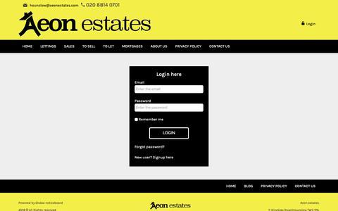 Screenshot of Login Page aeonestates.com - Aeon estates - captured Oct. 3, 2018