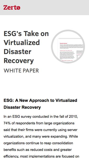 ESG on Virtualized Disaster Recovery | Zerto