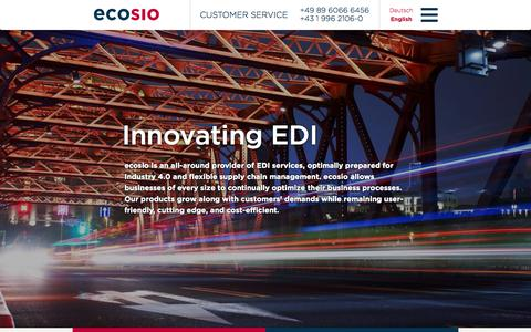 Screenshot of Products Page ecosio.com - Innovative solutions for electronic data interchange (EDI) - captured Sept. 27, 2015