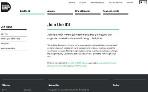 Screenshot of Signup Page idi-design.ie - Join the IDI | IDI Institute of Designers in Ireland - captured Feb. 11, 2016