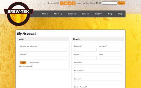 Screenshot of Login Page brew-tek.com - My Account   Brew Tek - captured Jan. 7, 2016