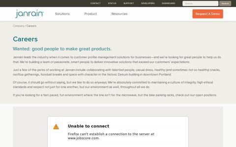 Screenshot of Jobs Page janrain.com - Career Opportunities in Customer Data Management | Janrain - captured July 20, 2014