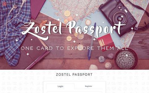 Screenshot of Login Page zostel.com - Zostel   Passport - captured March 29, 2018