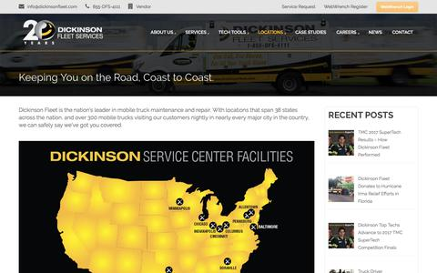 Screenshot of Locations Page dickinsonfleet.com - Keeping You On The Road | Dickinson Fleet | Mobile Truck Maintenance - captured Oct. 12, 2017