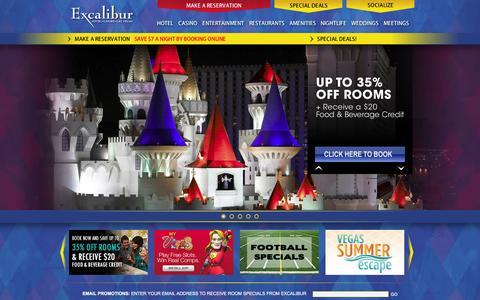 Screenshot of Home Page excalibur.com - Las Vegas Hotels - Excalibur Hotel Casino Las Vegas - Las Vegas Deals - captured Sept. 19, 2014