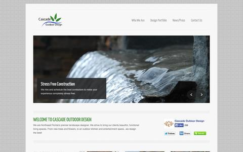 Screenshot of Home Page cascadeoutdoordesign.com - Cascade Outdoor Design | Jacksonville Landscape Design - captured Sept. 26, 2014