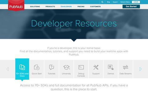 Screenshot of Developers Page pubnub.com - Realtime Development Resources, Tutorials & SDKs for Realtime Apps | PubNub - captured March 27, 2016