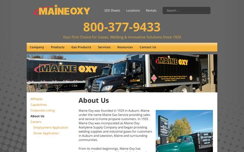 Screenshot of About Page maineoxy.com - About Us - Maine Oxy | Specialty Gases and Welding Supplies - captured May 26, 2017