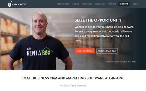 Screenshot of Home Page hatchbuck.com - Small Business CRM & Marketing Software All-In-One - captured May 8, 2017