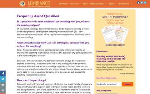 Screenshot of FAQ Page christinefkelley.com - Frequently Asked Questions • Mindful Astrology with Luminance - captured Oct. 3, 2014