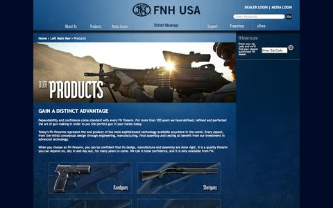 Screenshot of Products Page fnhusa.com - FNH USA - Distinct Advantage :: Products - captured Sept. 22, 2014