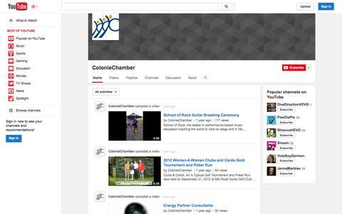 Screenshot of YouTube Page youtube.com - ColonieChamber  - YouTube - captured Oct. 22, 2014