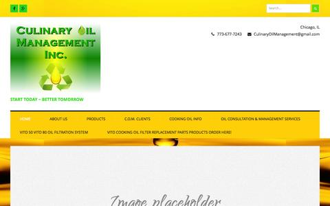 Screenshot of Home Page culinaryoilmanagement.com - Culinary Oil Management Inc. ~ Start Today ~ Better Tomorrow - captured Sept. 30, 2014