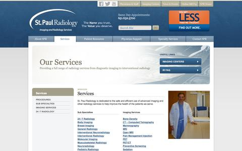 Screenshot of Services Page stpaulradiology.com - Services » SPR providing a full range of radiology services » St. Paul Radiology - captured Oct. 7, 2014