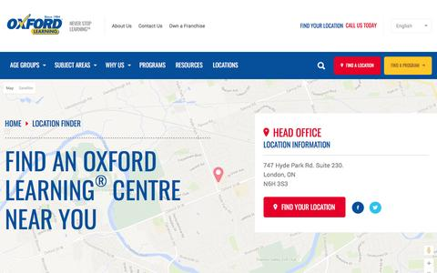 Screenshot of Locations Page oxfordlearning.com - Locations | Oxford Learning - captured Feb. 15, 2016