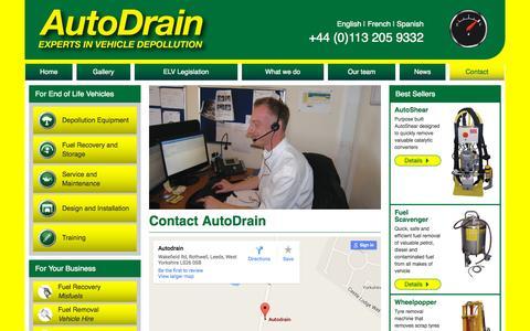 Screenshot of autodrain.net - Contact Us - Autodrain - captured Oct. 7, 2015