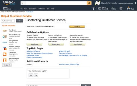 Screenshot of Support Page amazon.ca - Amazon.ca Help: Contact Us - captured Sept. 4, 2016