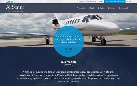 Screenshot of About Page airsprint.com - About | AirSprint Private Aviation - captured Jan. 21, 2016
