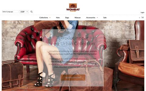 Screenshot of Home Page wombatleather.co.uk - Australian Leather Hats, Waxed Canvas Bags, Leather Travel Bag - Wombat Leather - captured Oct. 25, 2018