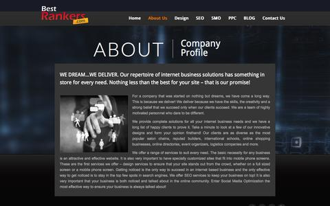 Screenshot of About Page bestrankers.com - Internet Business Solutions, Customized Designing Services, Responsive Design Services - captured Sept. 19, 2014