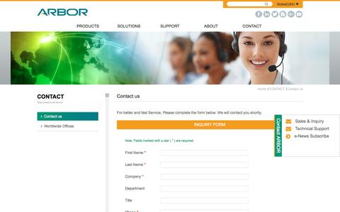 Screenshot of Contact Page arbor-technology.com - Contact us - Contact us | ARBOR - captured May 1, 2017