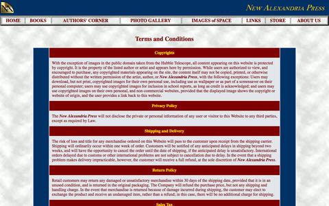 Screenshot of Terms Page newalexandriapress.com - New Alexandria Press: Information and Contacts - captured Oct. 26, 2014