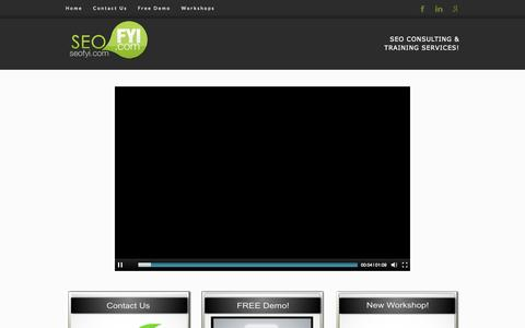 Screenshot of Home Page seo-fyi.com - Seo Consulting, Seo Training, Seo Products - captured Sept. 30, 2014