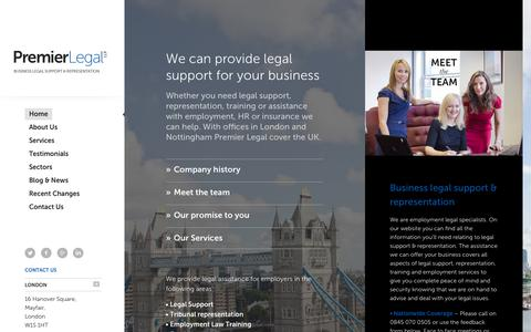 Screenshot of Home Page premier-legal.co.uk - Employment law solicitors – Premier Legal LLP - captured Oct. 2, 2014