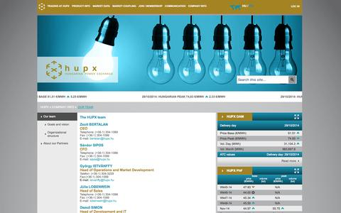 Screenshot of Team Page hupx.hu - Pages - The HUPX team - captured Oct. 28, 2014