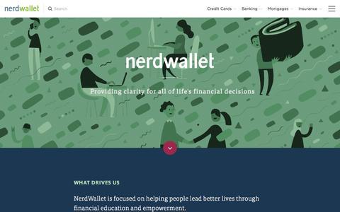 Screenshot of About Page nerdwallet.com - NerdWallet : About Us - captured Oct. 22, 2015