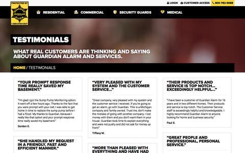 Screenshot of Testimonials Page guardianalarm.com - Testimonials - Guardian AlarmGuardian Alarm - captured May 24, 2016