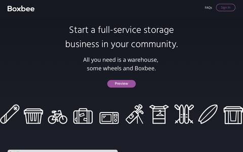 Screenshot of Home Page boxbee.com - Boxbee - Create A Full Service Storage Business In Your Community - captured May 13, 2016