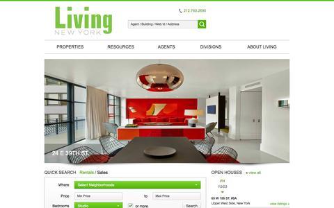 Screenshot of Home Page livingny.com - New York Real Estate Listings - captured Oct. 3, 2014
