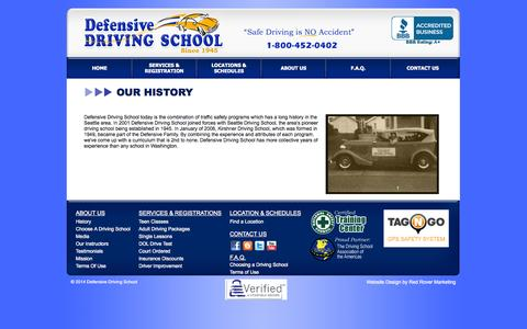 Screenshot of About Page driving-school.com - Defensive Driving School, Seattle, Bellevue, Redmond, Issaquah, Kent, Everett, Lake Stevens, Lynnwood, Edmonds, Monroe, Snohomish, Woodinville - captured Oct. 1, 2014