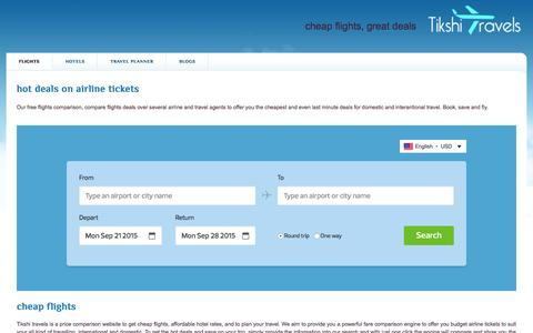 Screenshot of Home Page tikshi.com - cheap flights, flights, airline tickets deals, hotels, tikshi - captured Sept. 7, 2015