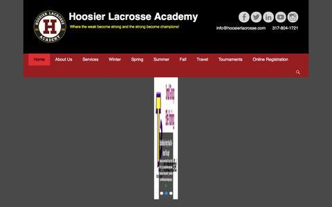Screenshot of Home Page hoosierlacrosse.com - Welcome to The Hoosier Lacrosse Academy - Hoosier Lacrosse Academy - captured Nov. 12, 2016