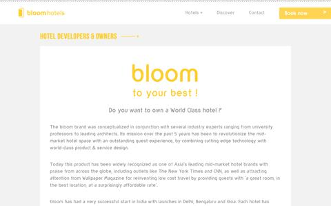 Screenshot of Developers Page staybloom.com - bloomhotels - award winning hotels - captured Nov. 2, 2018