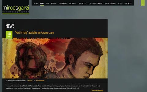 Screenshot of Press Page mircosgarzi.com - News | Mirco Sgarzi – Cinematographer – Director of Photography (a.i.c. / Imago) - captured Oct. 7, 2014