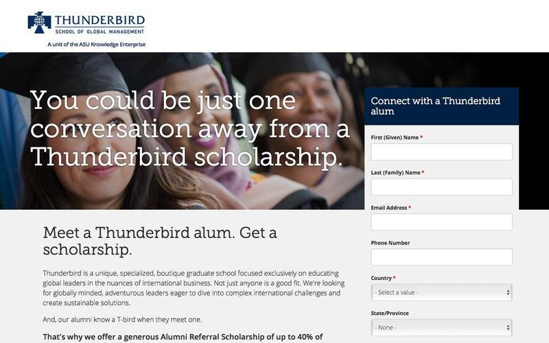 Alumni Referral Scholarship: Meet a T-bird Get a Scholarship   Thunderbird School of Global Management
