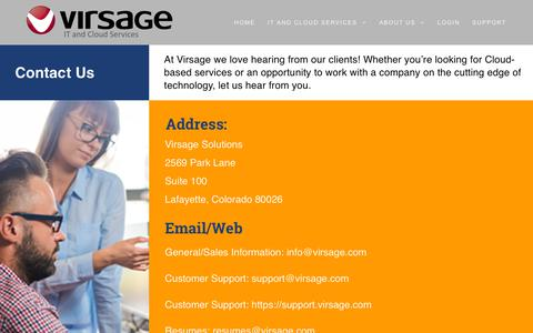 Screenshot of Contact Page virsage.com - Contact Us – Virsage Solutions - captured Dec. 11, 2018