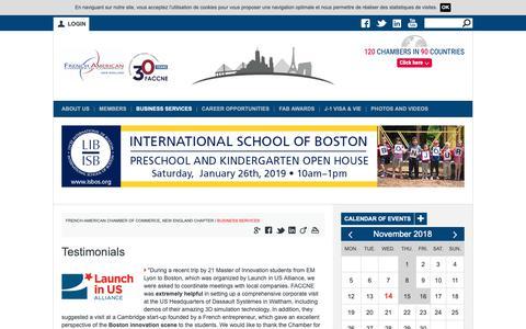 Screenshot of Testimonials Page faccne.org - Testimonials | FACC NEW ENGLAND - captured Nov. 14, 2018