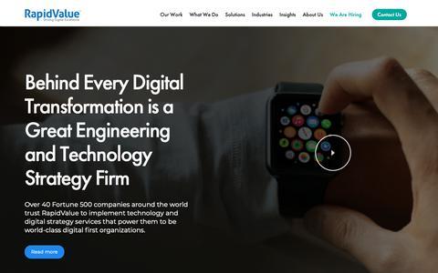 Screenshot of Home Page rapidvaluesolutions.com - Digital Transformation & Enterprise Mobility Solutions - RapidValue - captured April 17, 2019