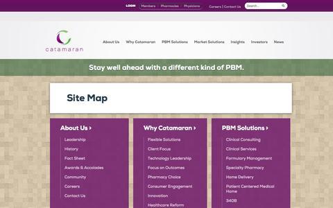 Screenshot of Site Map Page catamaranrx.com captured Nov. 5, 2014
