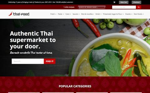 Screenshot of Home Page thai-food-online.co.uk - Thai supermarket online selling Thai food and Thai ingredients - captured July 1, 2018